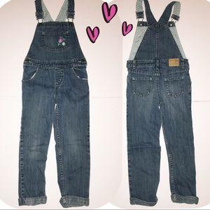 Girl's Foral blue jean overalls Oshkosh size 5T